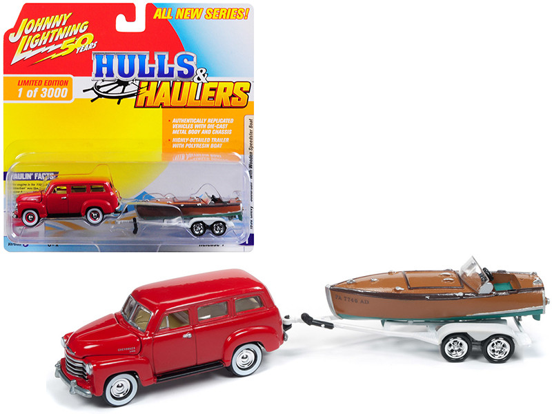 1950 Chevrolet Suburban Red Vintage Wooden Speedster Boat Limited Edition 3000 pieces Worldwide Hulls Haulers Series 1 1/64 Diecast Model Car Johnny Lightning JLBT011 B