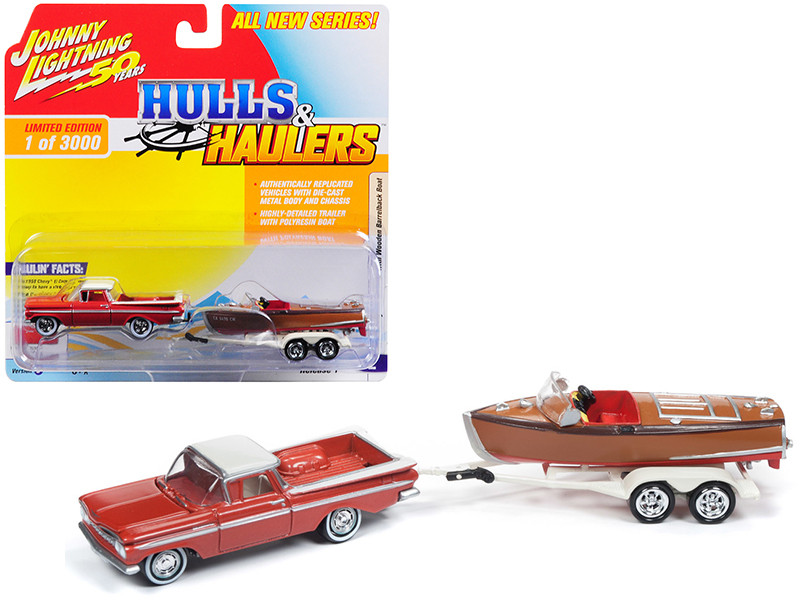 1959 Chevrolet El Camino Cameo Coral White Top Vintage Wooden Barrelback Boat Limited Edition 3000 pieces Worldwide Hulls Haulers Series 1 1/64 Diecast Model Car Johnny Lightning JLBT011 B