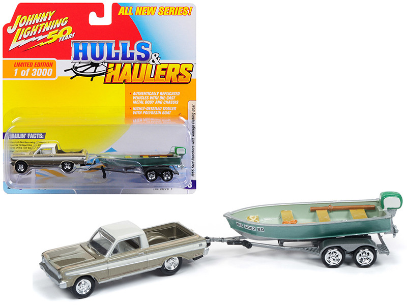 1965 Ford Ranchero Honey Gold Cream Top Weathered Vintage Fishing Boat Limited Edition 3000 pieces Worldwide Hulls Haulers Series 1 1/64 Diecast Model Car Johnny Lightning JLBT011 B