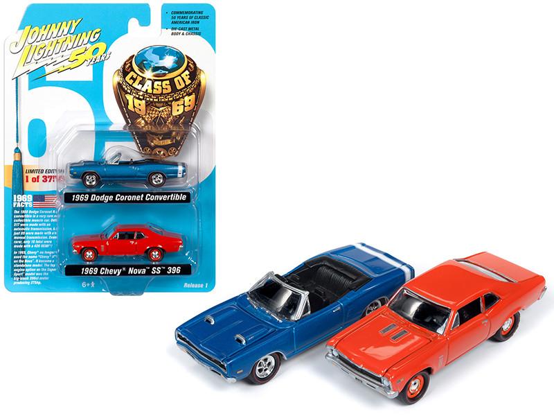 1969 Dodge Coronet R/T Convertible Metallic Blue 1969 Chevrolet Nova SS 396 Hugger Orange Set 2 pieces Class 1969 Limited Edition 3750 pieces Worldwide 1/64 Diecast Model Cars Johnny Lightning JLPK007
