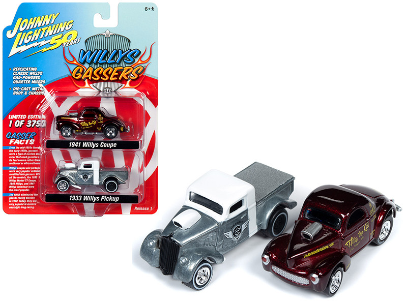 1941 Willys Metallic Dark Red Willy the Kid 1933 Willys Pickup Truck Raw White Top Air Force Set 2 pieces Willys Gassers Limited Edition 3750 pieces Worldwide 1/64 Diecast Model Cars Johnny Lightning JLPK007