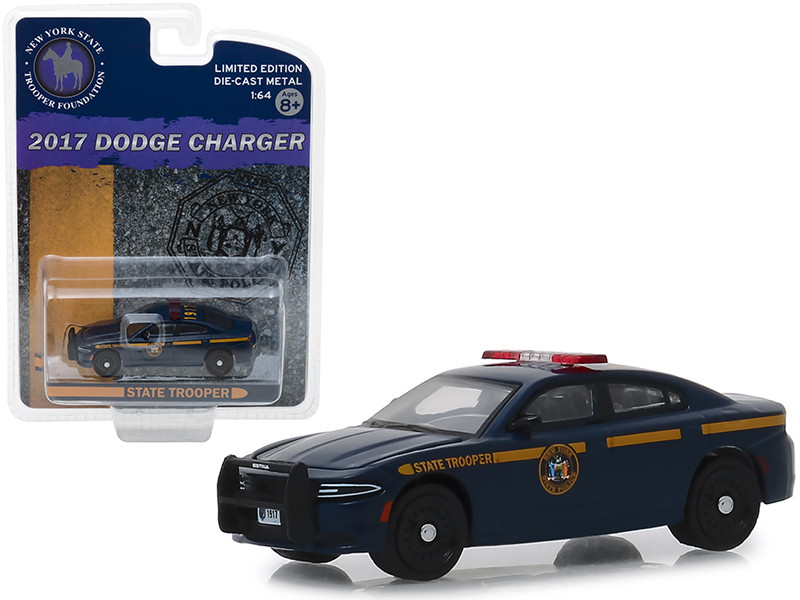 2017 Dodge Charger New York State Trooper Foundation Police Car Dark Blue Hobby Exclusive 1/64 Diecast Model Car Greenlight 51178