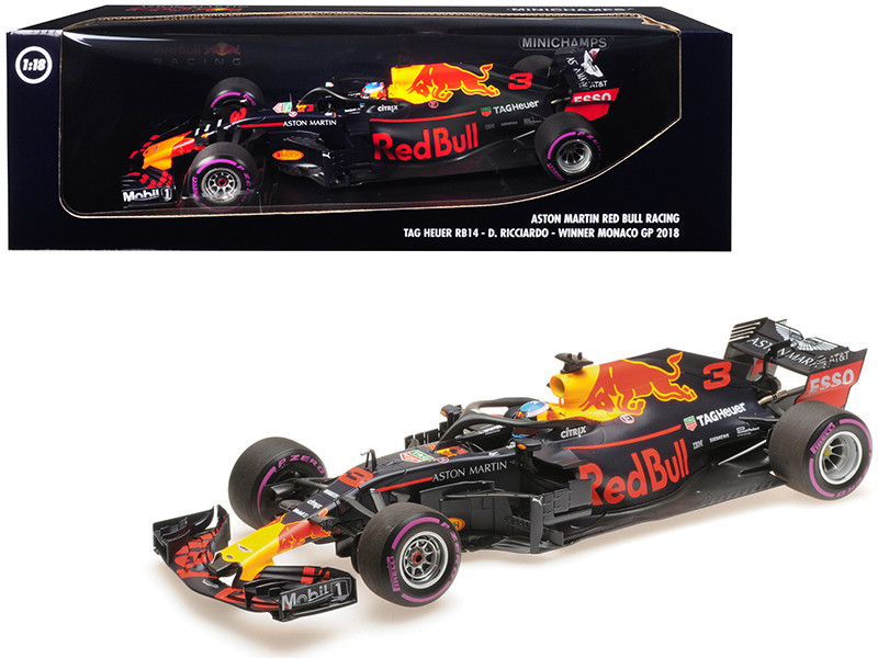 TAG Heuer RB14 #3 Daniel Ricciardo Winner Formula One F1 Monaco GP 2018 Aston Martin Red Bull Racing Limited Edition 318 pieces Worldwide 1/18 Diecast Model Car Minichamps 110180603