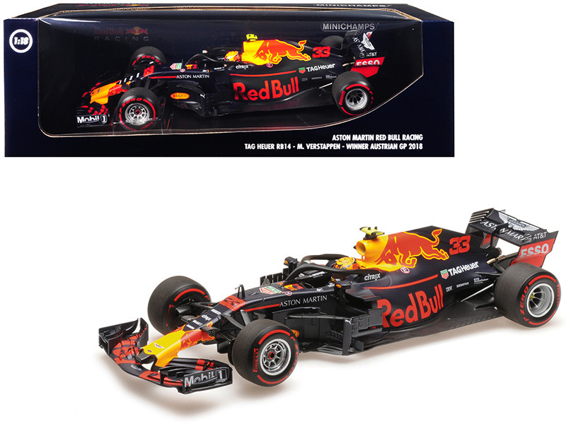 TAG Heuer RB14 #33 Max Verstappen Winner Formula One F1 Austrian GP 2018 Aston Martin Red Bull Racing Limited Edition 402 pieces Worldwide 1/18 Diecast Model Car Minichamps 110180933