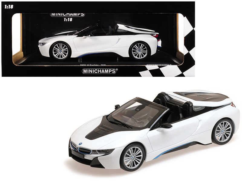2018 BMW i8 Roadster Metallic White Limited Edition 504 pieces Worldwide 1/18 Diecast Model Car Minichamps 155027031