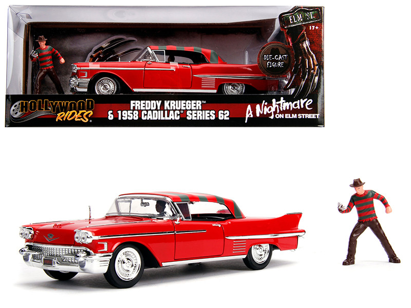 1958 Cadillac Series 62 Red Freddy Krueger Diecast Figure A Nightmare on Elm Street Movie 1/24 Diecast Model Car Jada 31102