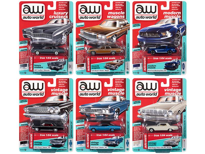 Autoworld Muscle Cars Premium 2019 Release 1 Set A 6 Cars 1/64 Diecast Models Autoworld 64212 A