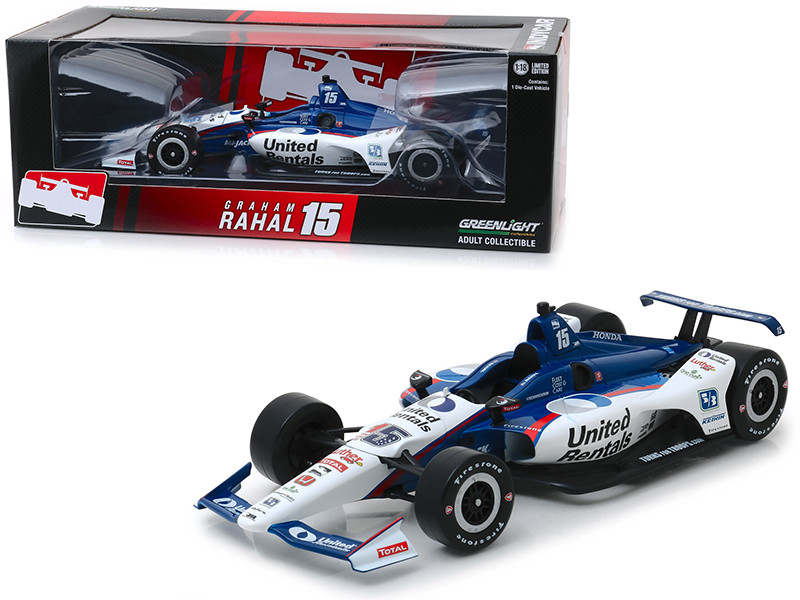 Honda Dallara Indy Car #15 Graham Rahal United Rentals Rahal Letterman Lanigan Racing 1/18 Diecast Model Car Greenlight 11066