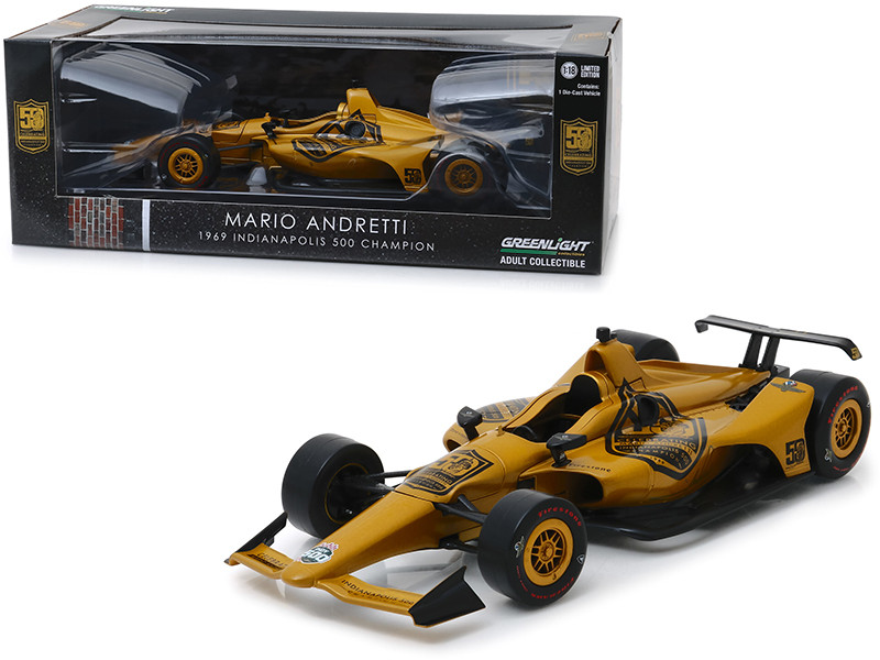 Indy Car Mario Andretti 50th Anniversary 1969 Indianapolis 500 Champion Dallara Universal Aero Kit Tribute IndyCar 1/18 Diecast Model Car Greenlight 11069
