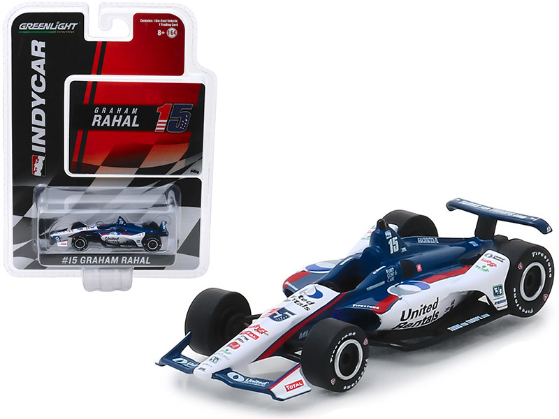 Honda Dallara Indy Car #15 Graham Rahal United Rentals Rahal Letterman Lanigan Racing 1/64 Diecast Model Car Greenlight 10850