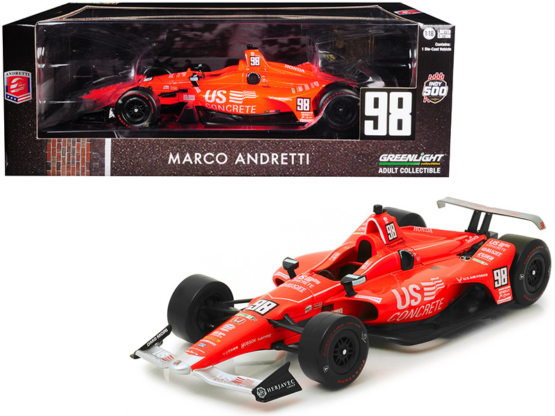 Honda Dallara Indy Car #98 Marco Andretti 50th Anniversary Indianapolis 500 Champion Andretti Autosport US Concrete Tribute 1/18 Diecast Model Car Greenlight 11070