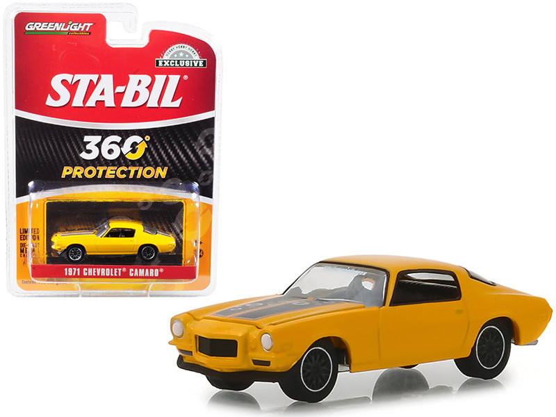 1971 Chevrolet Camaro Metallic Yellow STA-BIL Protection Hobby Exclusive 1/64 Diecast Model Car Greenlight 30025