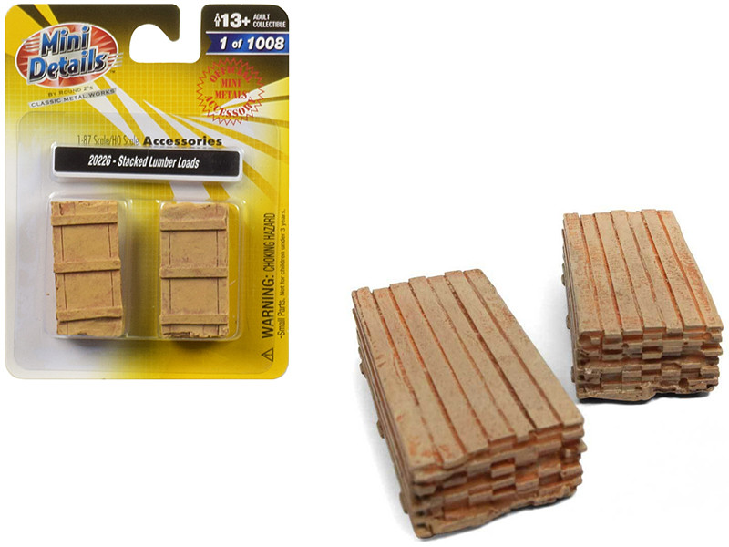 Stacked Lumber Loads 2 piece Accessory Set 1/87 HO Scale Classic Metal Works 20226