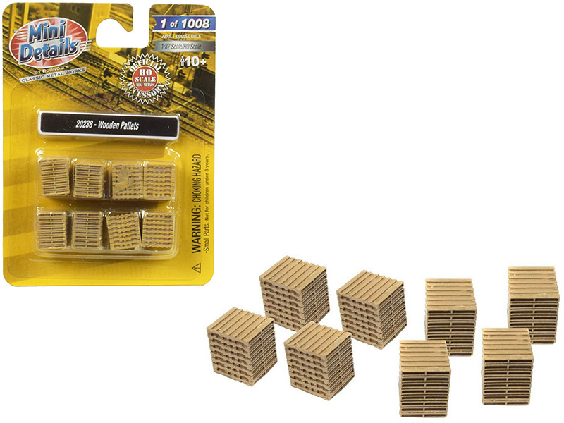 Wooden Pallets 8 piece Accessory Set 1/87 HO Scale Classic Metal Works 20238