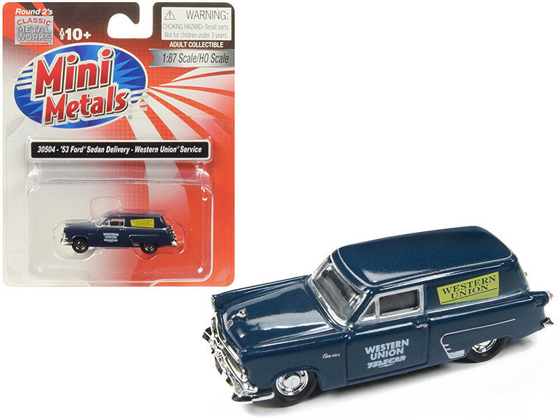 1953 Ford Sedan Delivery Western Union Service Dark Blue 1/87 HO Scale Model Car Classic Metal Works 30504