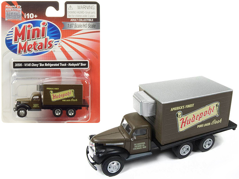 1941 1946 Chevrolet Box Reefer Refrigerated Truck Hudepohl Beer Brown 1/87 HO Scale Model Classic Metal Works 30506