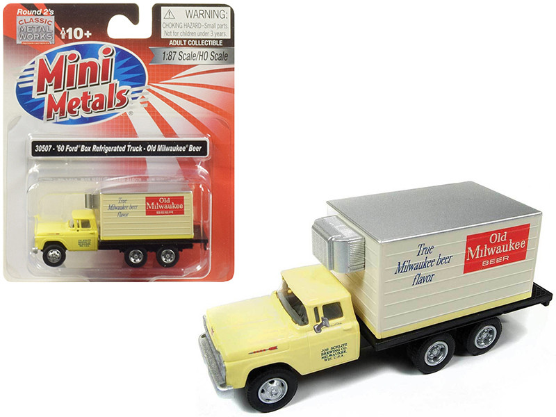 1960 Ford Box Reefer Refrigerated Truck Old Milwaukee Beer Yellow 1/87 HO Scale Model Classic Metal Works 30507