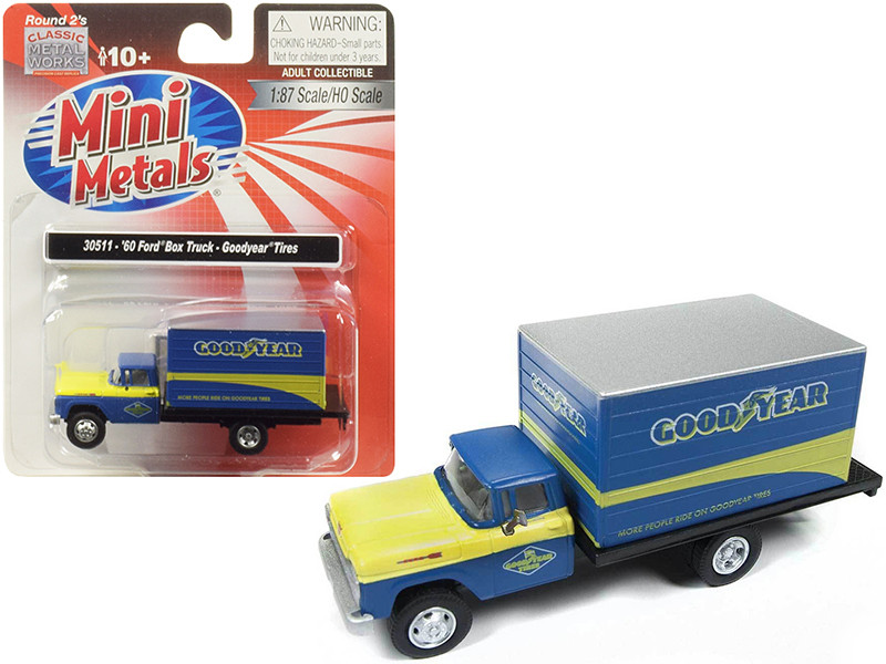 1960 Ford Box Truck Goodyear Blue 1/87 HO Scale Model Classic Metal Works 30511