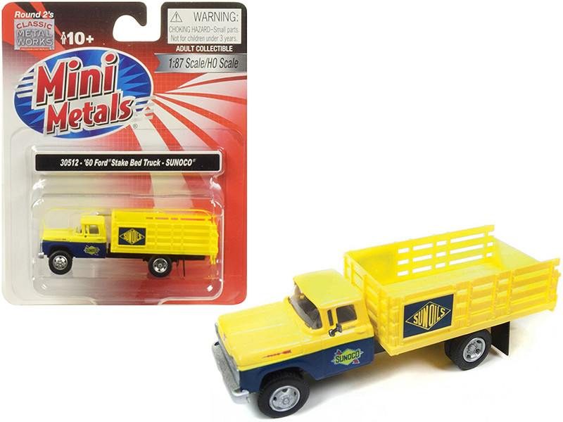 1960 Ford Stake Bed Truck Sunoco Yellow Blue 1/87 HO Scale Model Classic Metal Works 30512