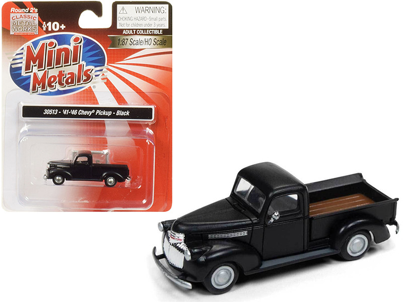 1941 1946 Chevrolet Pickup Truck Black 1/87 HO Scale Model Car Classic Metal Works 30513