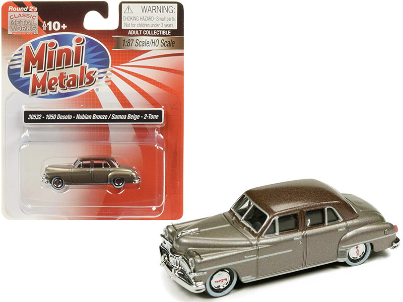 1950 DeSoto Nubian Bronze Samoa Beige Top 1/87 HO Scale Model Car Classic Metal Works 30532