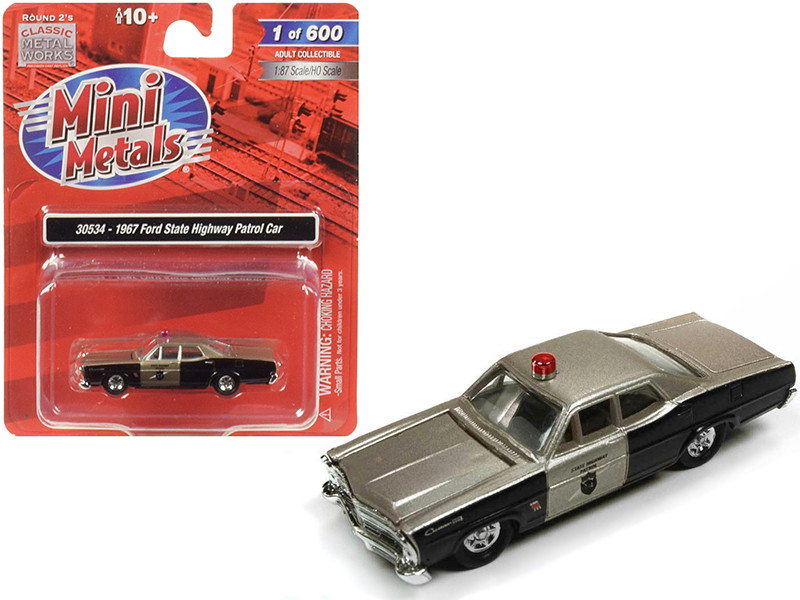 1967 Ford State Highway Patrol Car 1/87 HO Scale Model Car Classic Metal Works 30534