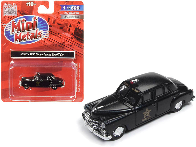1950 Dodge County Sheriff Car Black 1/87 HO Scale Model Car Classic Metal Works 30535