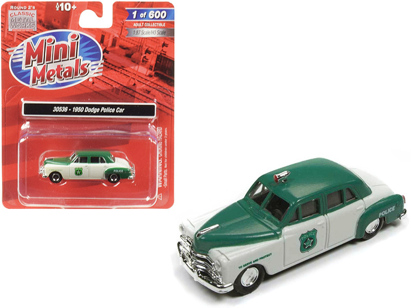 1950 Dodge Police Car White Green 1/87 HO Scale Model Car Classic Metal Works 30536