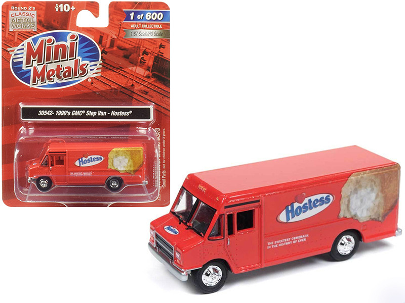 1990 GMC Delivery Step Van Hostess Red 1/87 HO Scale Model Classic Metal Works 30542