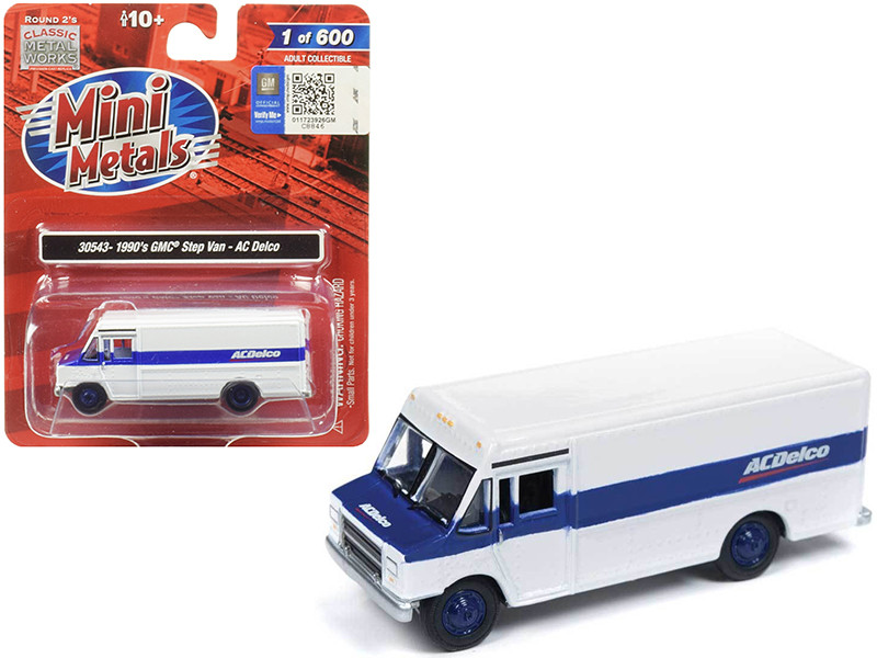 1990 GMC Step Van ACDelco White Blue Stripe 1/87 HO Scale Model Classic Metal Works 30543
