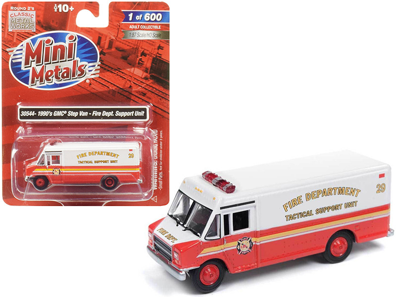 1990 GMC Step Van Fire Department Tactical Support Unit 1/87 HO Scale Model Classic Metal Works 30544