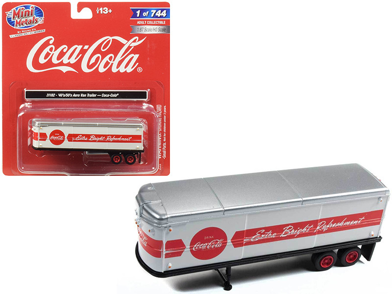 1940 1950 Aerovan Trailer Coca Cola White Red Stripe 1/87 HO Scale Model Classic Metal Works 31182
