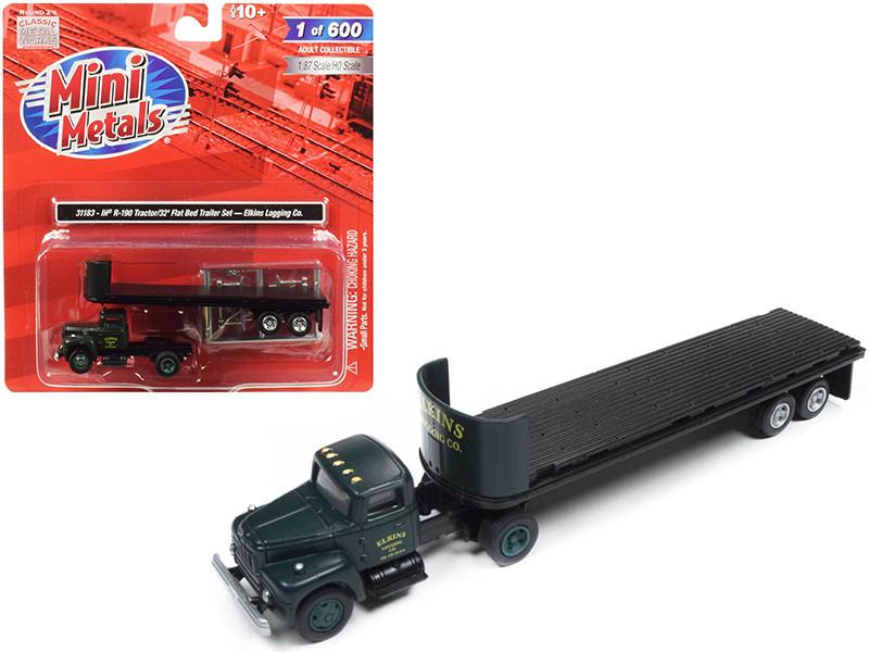 IH R-190 Tractor Truck 32' Flatbed Trailer Elkins Logging Co 1/87 HO Scale Model Classic Metal Works 31183