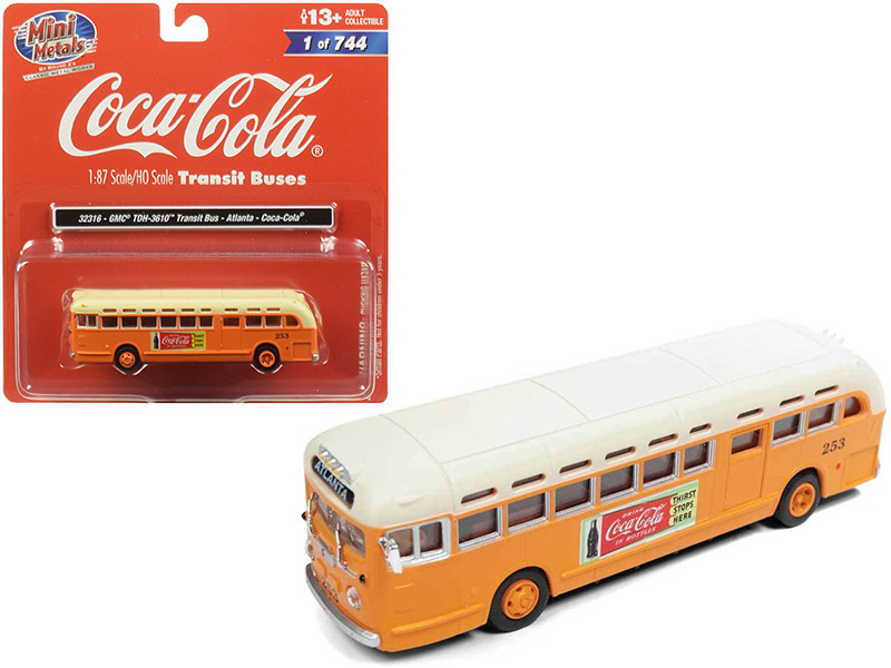 GMC TDH-3610 Transit Bus Atlanta Coca Cola Orange Cream Top 1/87 HO Scale Model Classic Metal Works 32316
