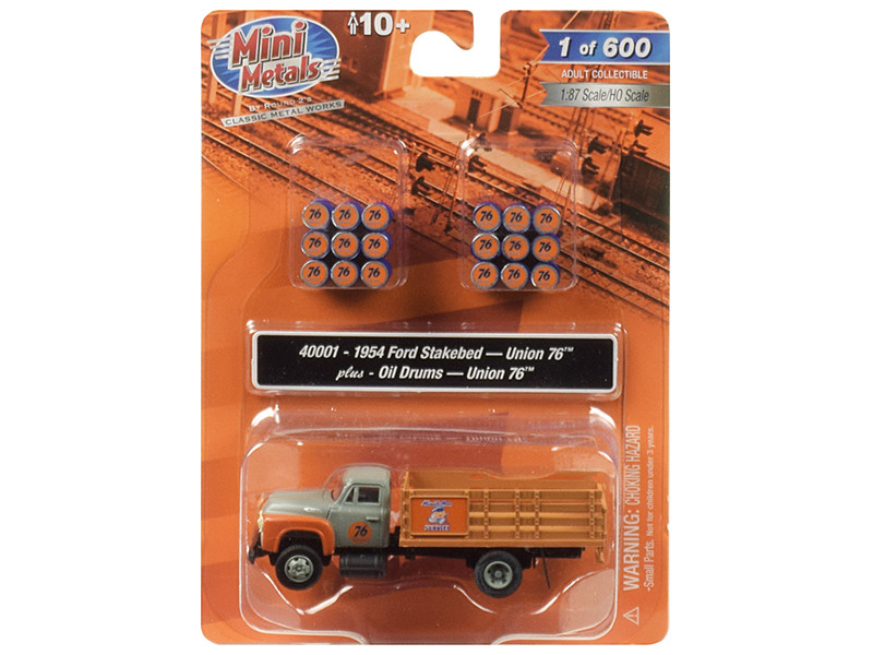 1954 Ford Stake Bed Truck Oil Drums Union 76 1/87 HO Scale Model Classic Metal Works 40001