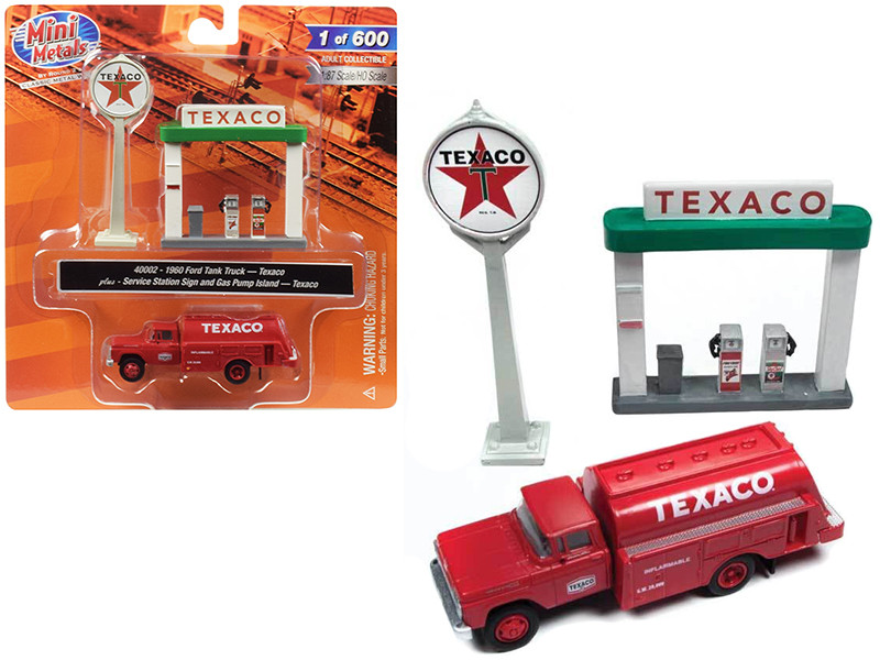 1960 Ford Tank Truck Red Service Gas Station Texaco 1/87 HO Scale Model Classic Metal Works 40002