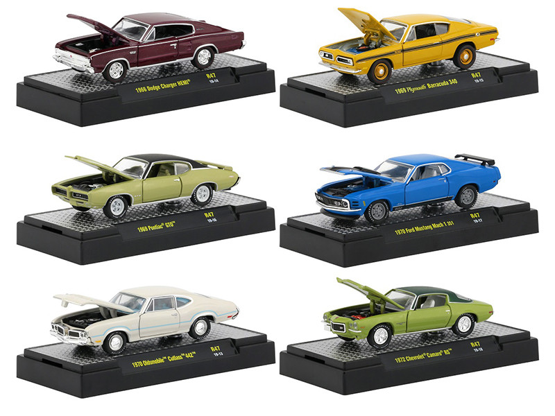 Detroit Muscle Release 47 Set 6 Cars DISPLAY CASES 1/64 Diecast Model Cars M2 Machines 32600-47