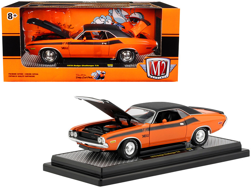 1970 Dodge Challenger T/A 340 Six Pack Orange Black Limited Edition 9800 pieces Worldwide 1/24 Diecast Model Car M2 Machines 40300-69 B