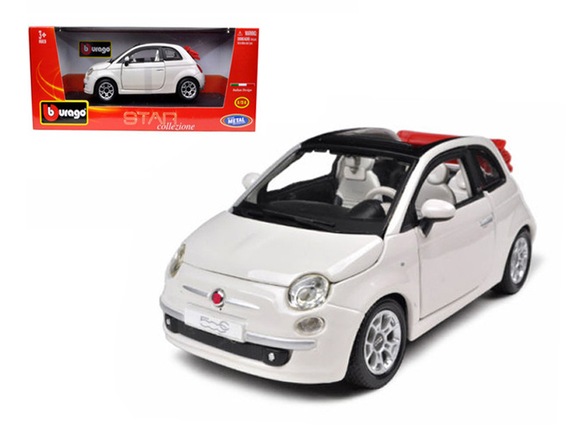 2009 Fiat 500 C Cabriolet White 1/24 Diecast Model Car BBurago 22117