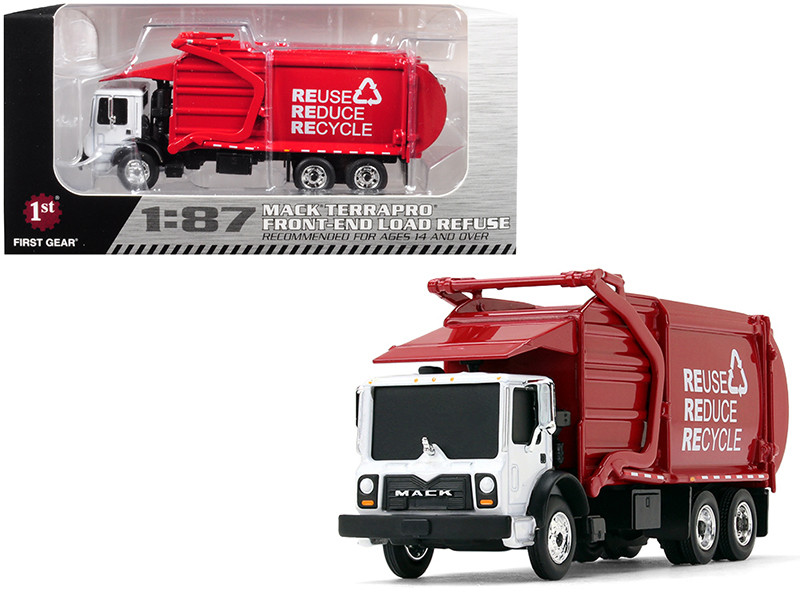 Mack TerraPro Front End Loader Refuse Garbage Truck Refuse Reduce Recycle White Red 1/87 Diecast Model First Gear 80-0329