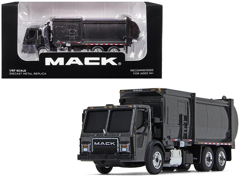 Mack LR McNeilus ZR Side Loader Refuse Garbage Truck Graphite Gray 1/87 Diecast Model First Gear