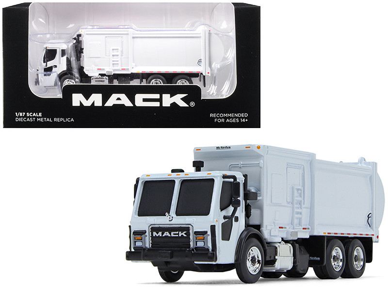 Mack LR McNeilus ZR Side Loader Refuse Garbage Truck White 1/87 Diecast Model First Gear 80-0332