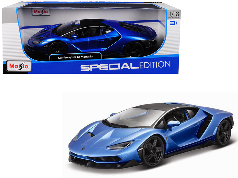 Lamborghini Centenario Metallic Blue Black Top 1/18 Diecast Model Car Maisto 31386