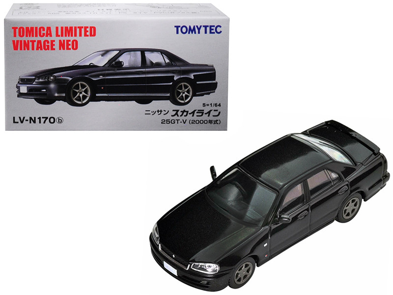 2000 Nissan Skyline 25GT-V RHD Right Hand Drive Metallic Black 1/64 Diecast Model Car Tomytec 288640