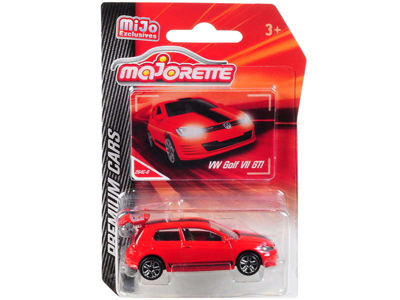 Volkswagen Golf VII GTI Red Black Stripes Premium Cars 1/64 Diecast Model Car Majorette 3052MJ4