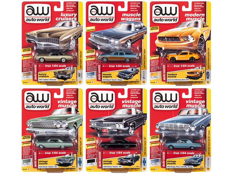 Autoworld Muscle Cars Premium 2019 Release 1 Set B 6 Cars 1/64 Diecast Models Autoworld 64212 B