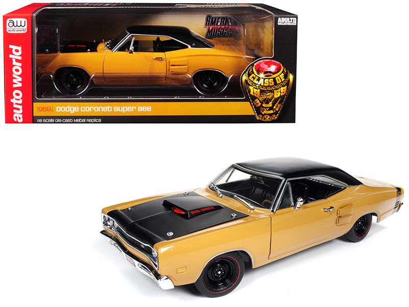 1969/5 Dodge Coronet Six Pack Super Bee Hardtop Butterscotch Orange Black Top Black Hood Class of 1969 Limited Edition 702 pieces Worldwide 1/18 Diecast Model Car Autoworld AMM1172