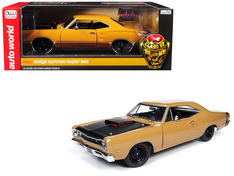 1969/5 Dodge Coronet Six Pack Super Bee Hardtop Butterscotch Orange Black Hood Class of 1969 Special Limited Edition 300 pieces Worldwide 1/18 Diecast Model Car Autoworld AMM1173