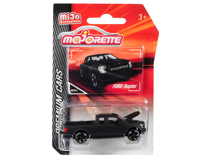 Ford Raptor F150 Pickup Truck Matt Black Premium Cars 1/72 Diecast Model Car Majorette 3052MJ