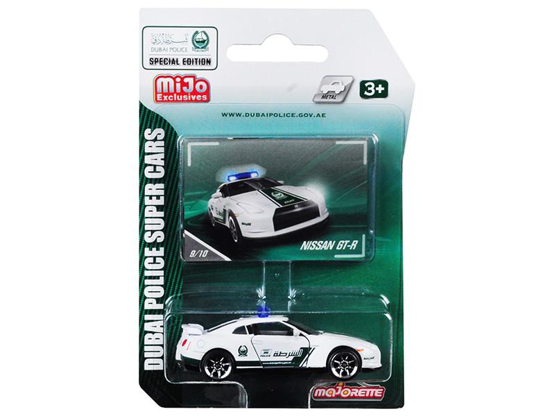 Nissan GT-R White Green Special Edition Dubai Police Super Cars 1/61 Diecast Model Car Majorette 7181MJT